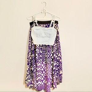 🔥2fer🔥 Charlotte Russe Denim Crop & Purple Skirt